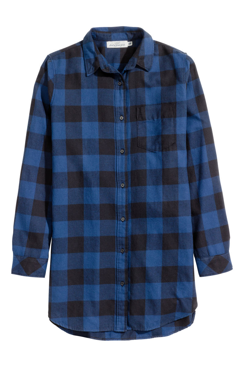 long flannel shirt dark blue checked sale h m us