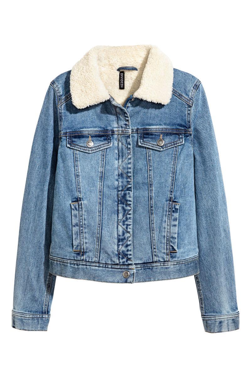 Pile Lined Denim Jacket Denim Blue Sale H Amp M Us