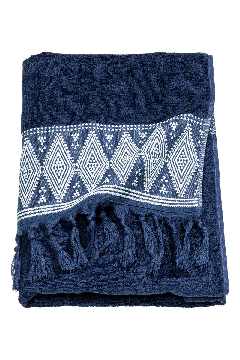 Bath Towel With Embroidery Dark Blue H M Home H M Us