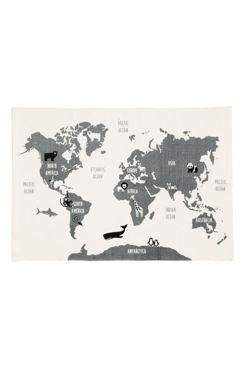 World map motif cotton rug whiteanimals hm home hm us details gumiabroncs Image collections