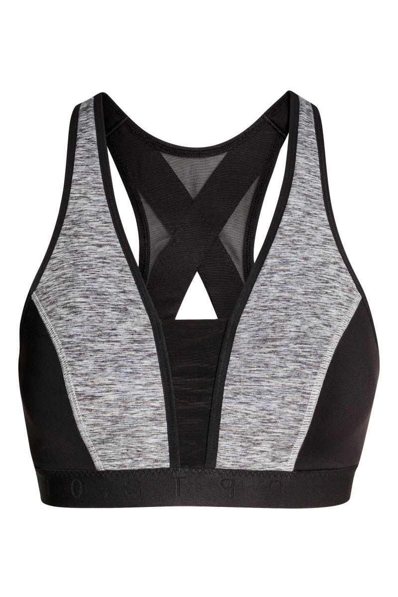 sports bra high support black gray melange women h m us. Black Bedroom Furniture Sets. Home Design Ideas
