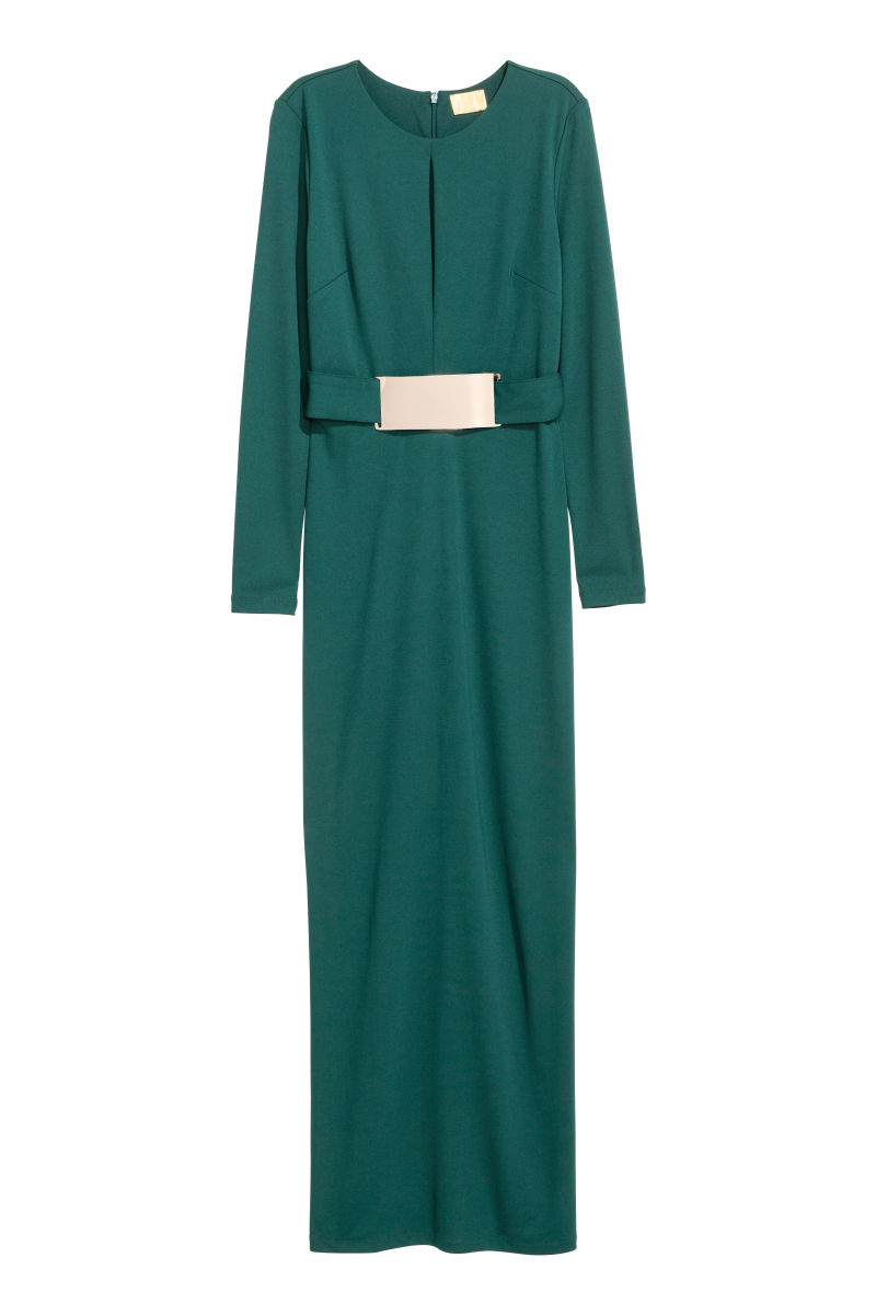Belted Maxi Dress | Dark green | SALE | H&M US