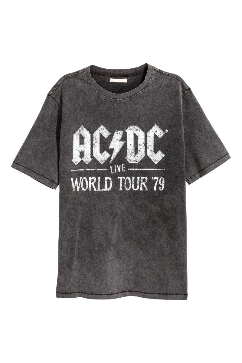 T shirt with printed design black ac dc sale h m us for Dc t shirt design
