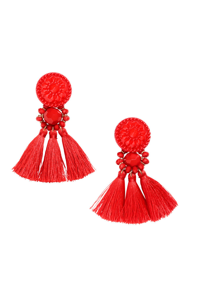 earrings with tassels red women h m us. Black Bedroom Furniture Sets. Home Design Ideas