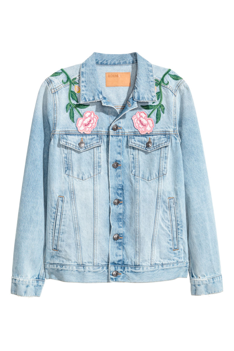 Embroidered denim jacket light blue floral sale