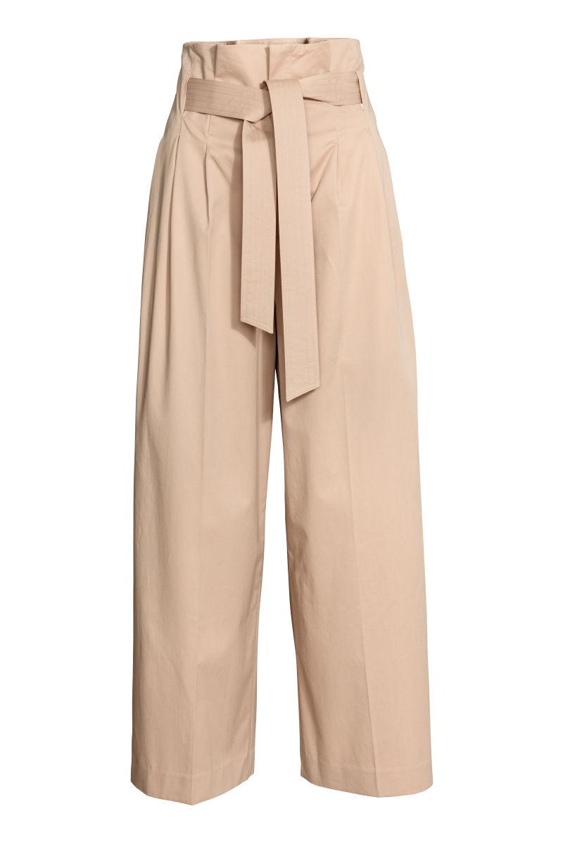 Wide leg pants with belt beige sale h m us for Ct fletcher its still your set shirt