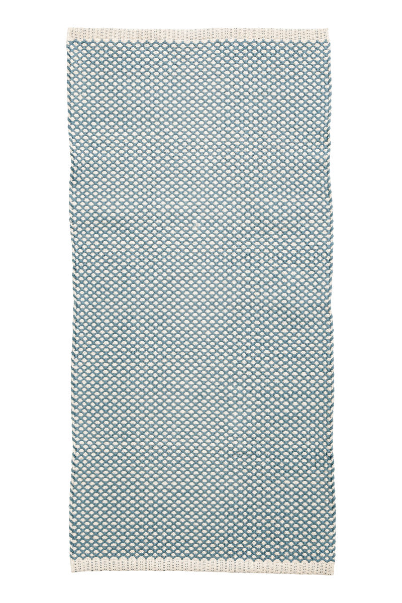 jacquard weave cotton rug turquoise h m home h m us. Black Bedroom Furniture Sets. Home Design Ideas