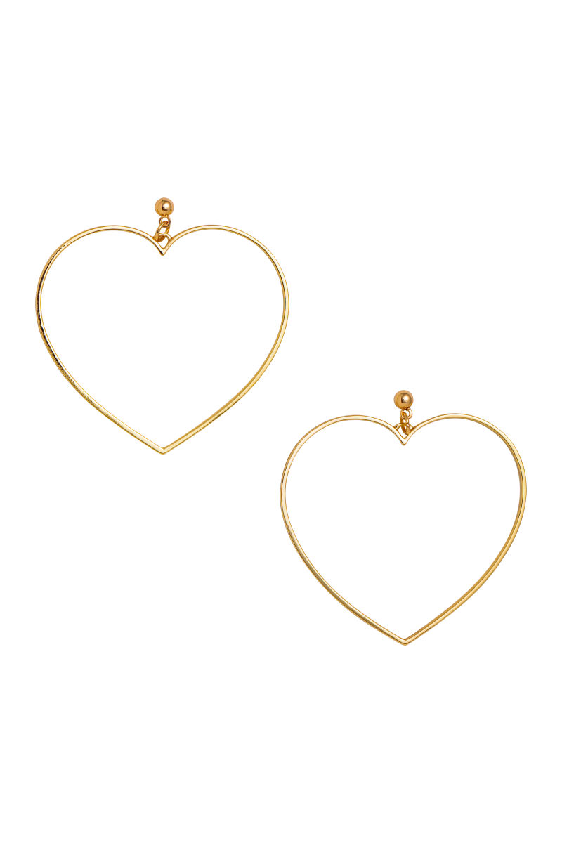 earrings gold ear hoop double pair hollow itm studs dangle heart women