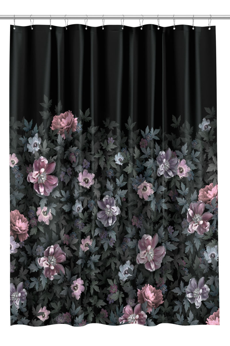 Photo-print Shower Curtain | Black/floral | H&M HOME | H&M US