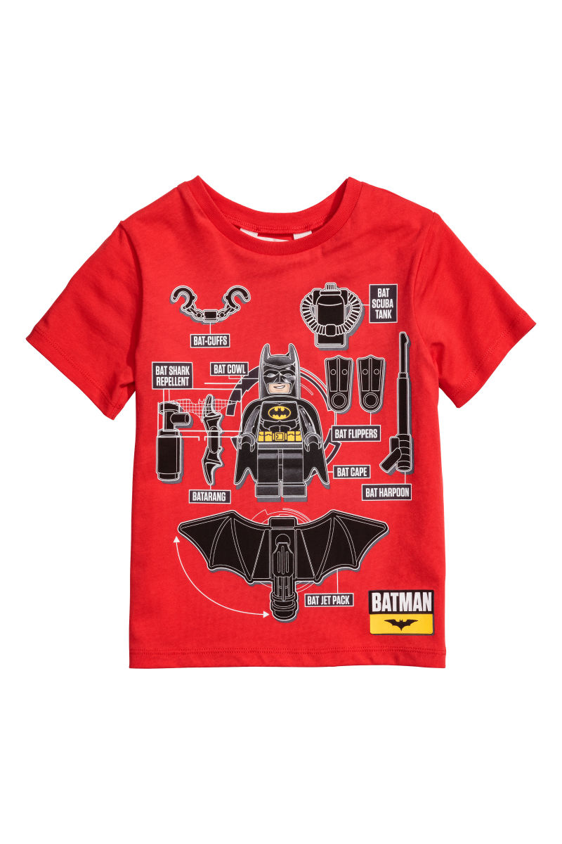 T Shirt With Printed Design Red Lego Sale H M Us