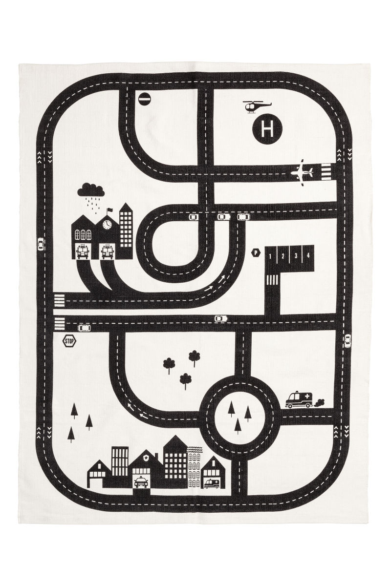 cotton rug with printed motif white car track h m home h m us. Black Bedroom Furniture Sets. Home Design Ideas