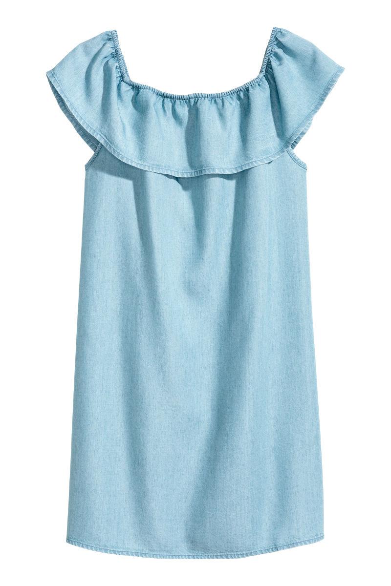 off the shoulder dress blue sale h m us. Black Bedroom Furniture Sets. Home Design Ideas