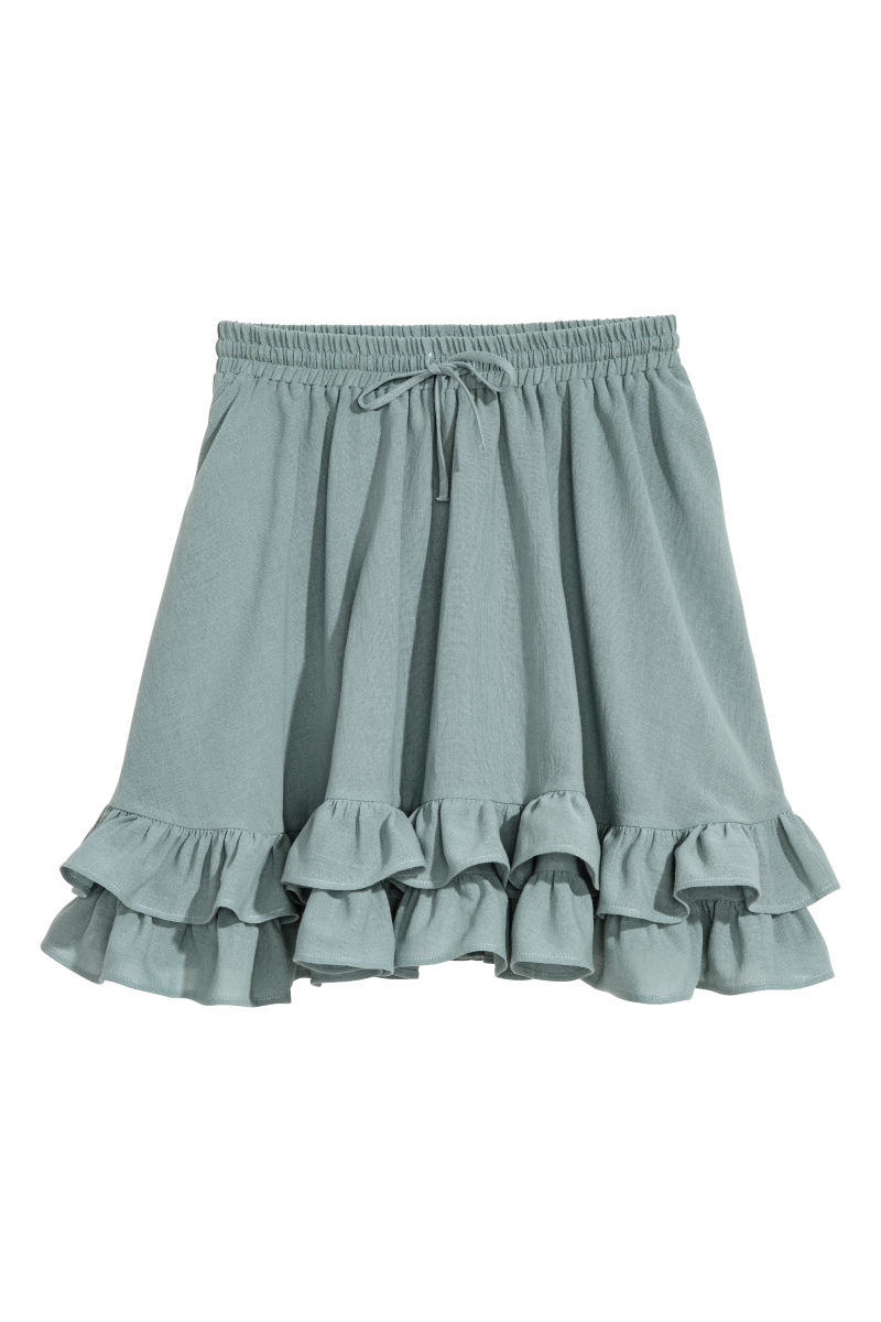 Short Cotton Skirt | Dusky green | SALE | H&M US