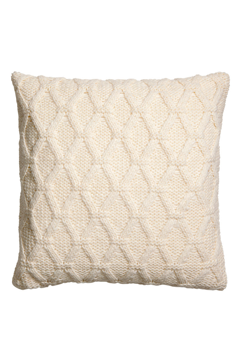 Cable knit cushion cover white sale h m us - Fundas nordicas azules ...
