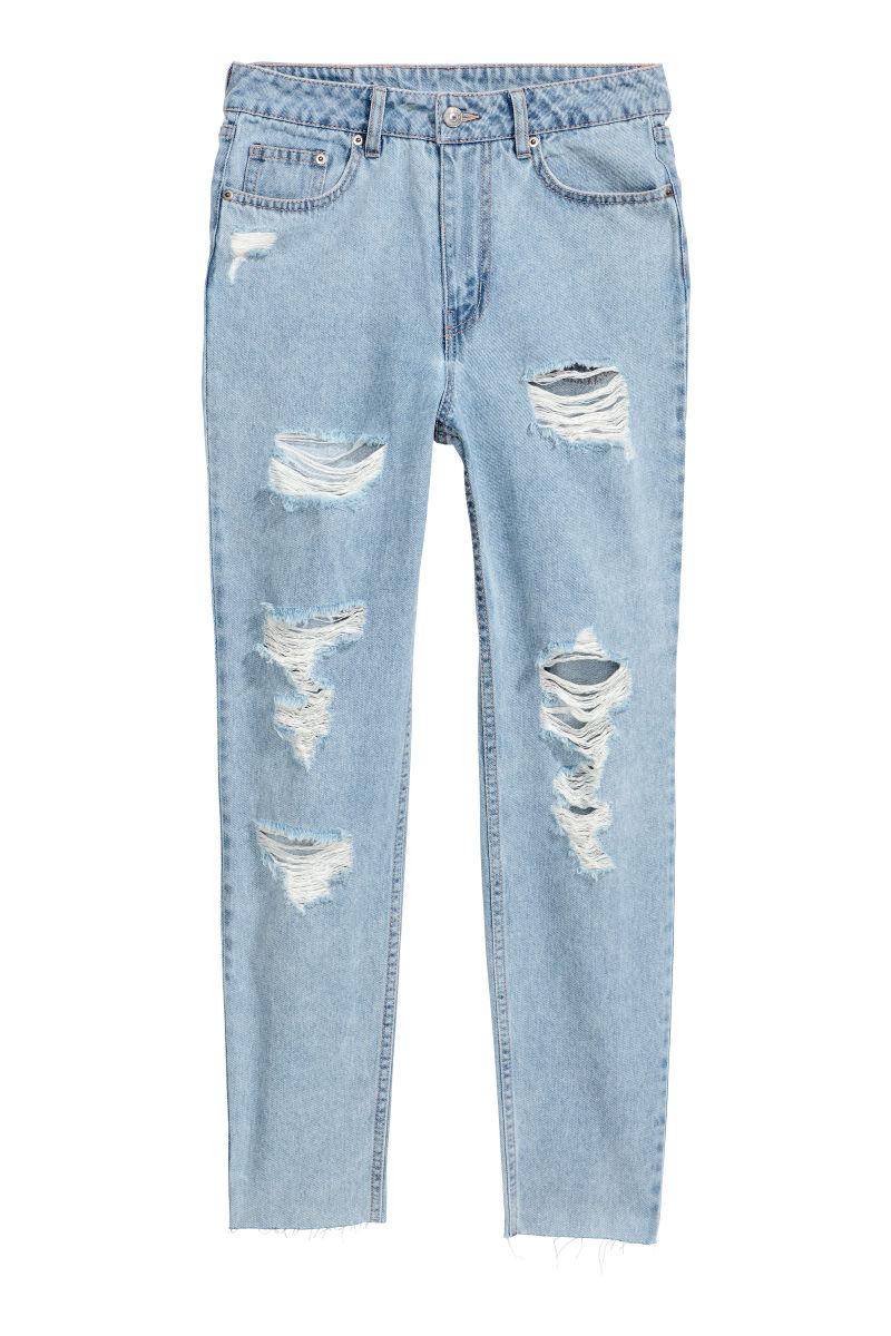 slim mom jeans light blue trashed sale h m us. Black Bedroom Furniture Sets. Home Design Ideas