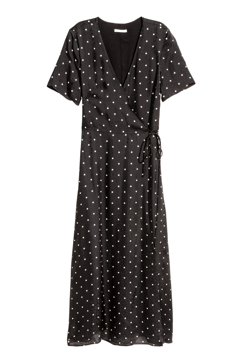 jacquard weave wrap dress black dotted women h m us. Black Bedroom Furniture Sets. Home Design Ideas