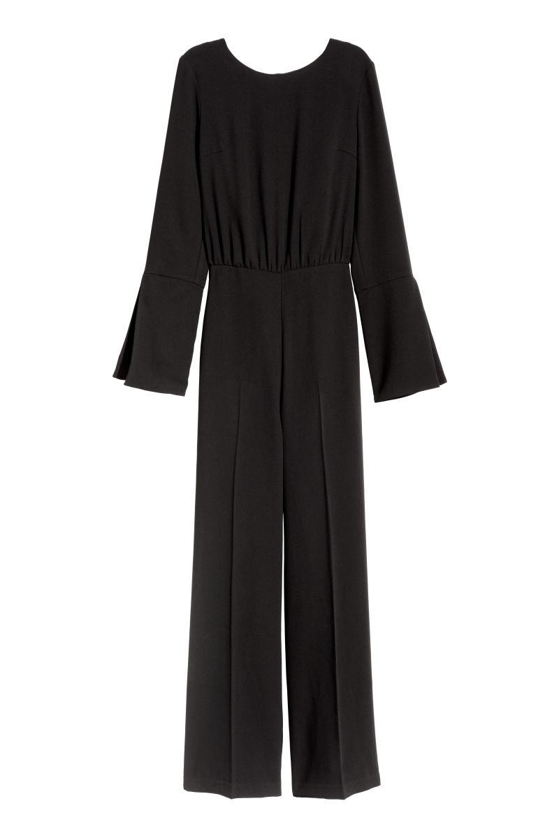 jumpsuit with ties black sale h m us. Black Bedroom Furniture Sets. Home Design Ideas