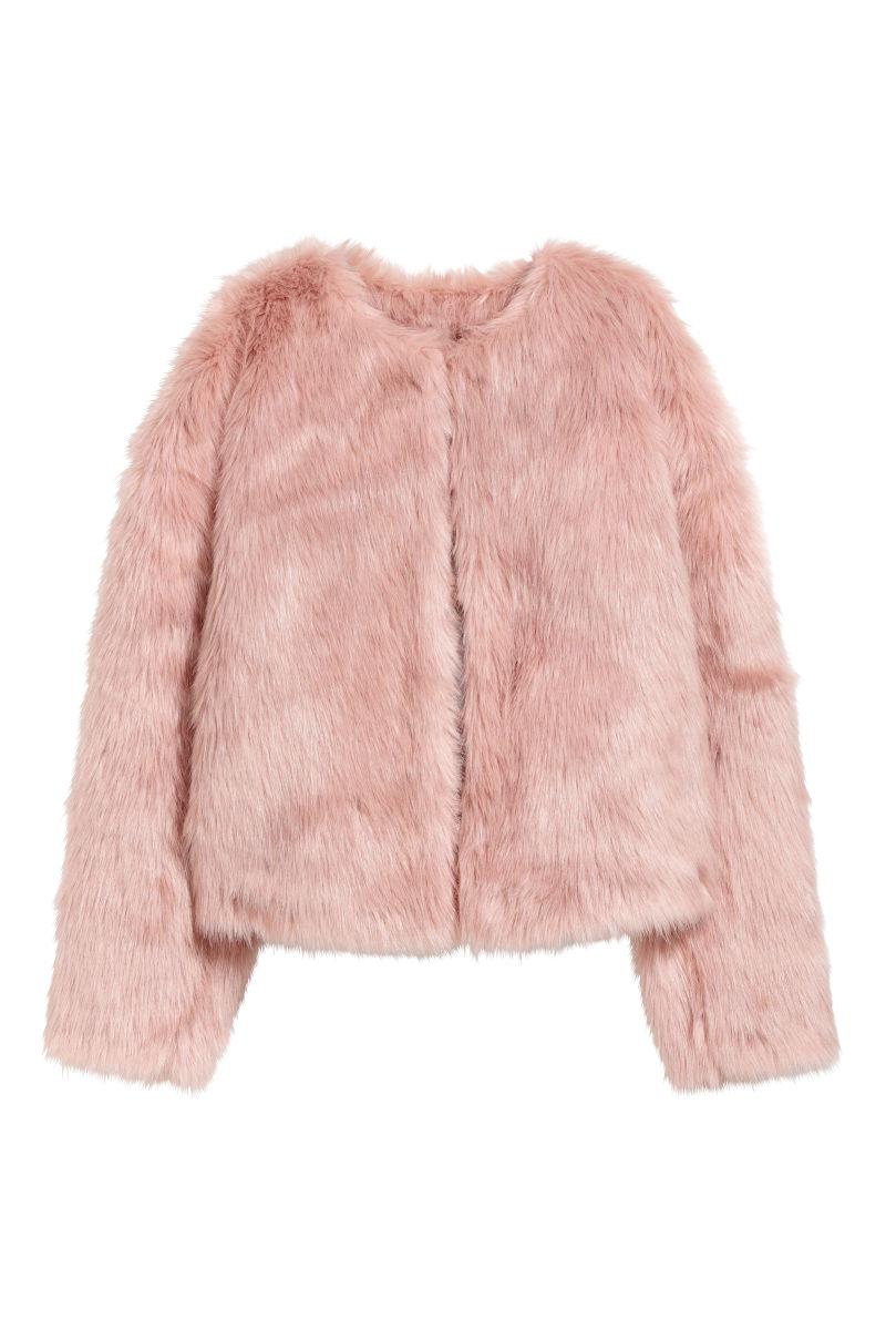 faux fur jacket antique rose unicorn sale h m us. Black Bedroom Furniture Sets. Home Design Ideas