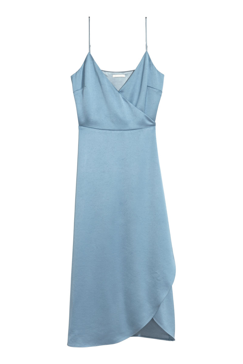 Satin Wrap Dress | Dusky blue | SALE | H&M US