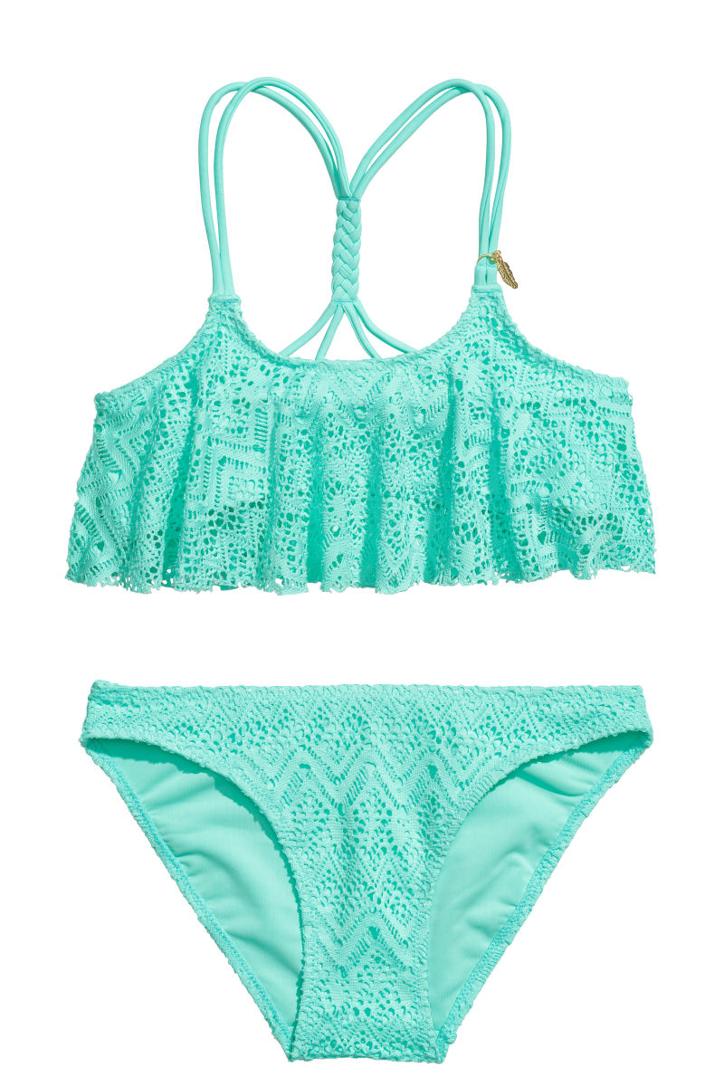 ruffled bikini turquoise lace kids h m us. Black Bedroom Furniture Sets. Home Design Ideas