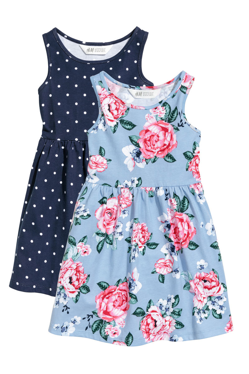2-pack Jersey Dresses | Dark blue/dotted | KIDS | H&M US