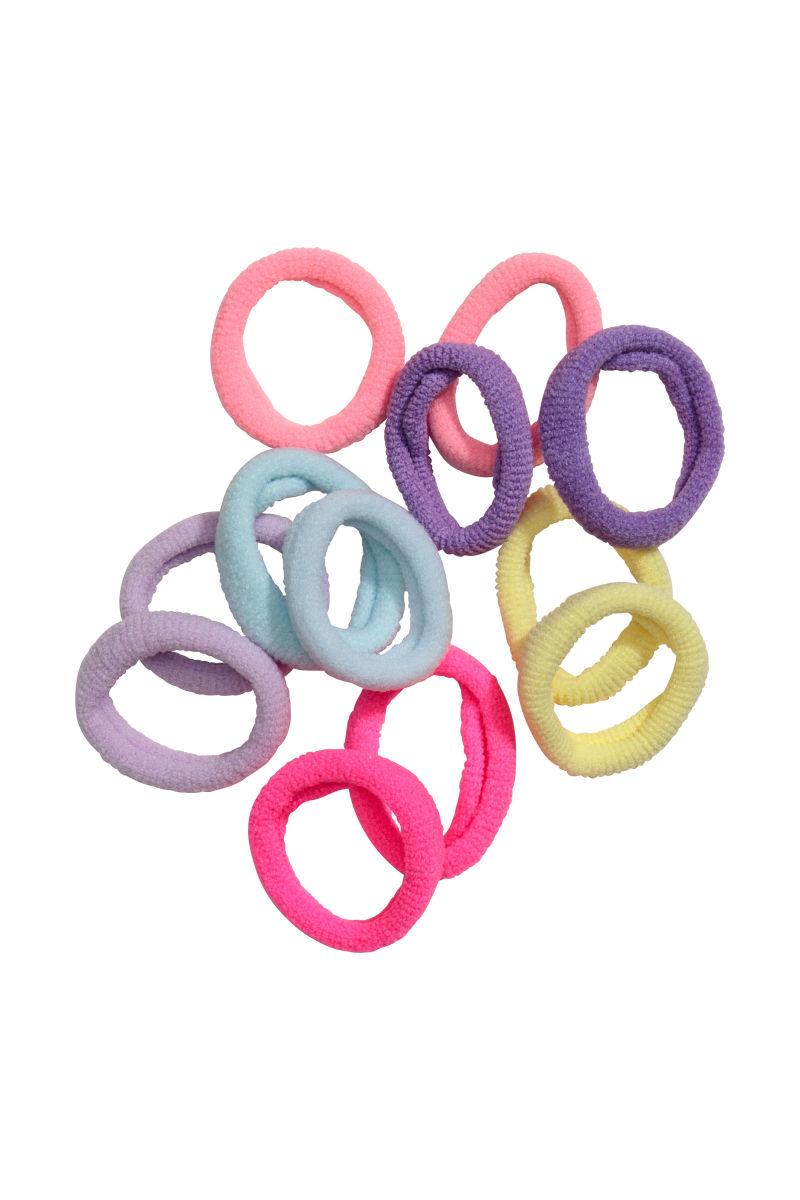 12-pack Hair Elastics | Pink/multicolored | SALE | H&M US