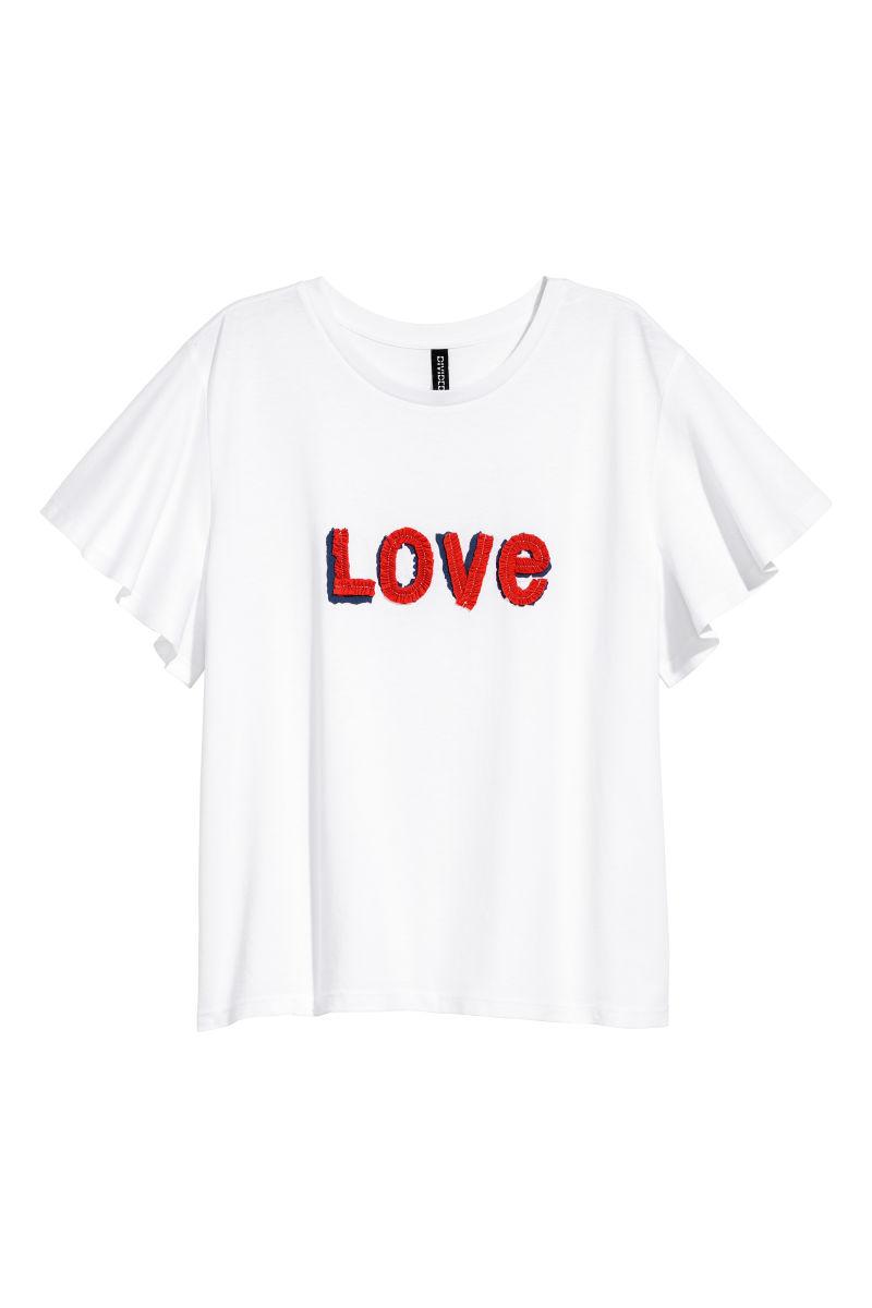 t shirt with appliqu white love women h m us. Black Bedroom Furniture Sets. Home Design Ideas