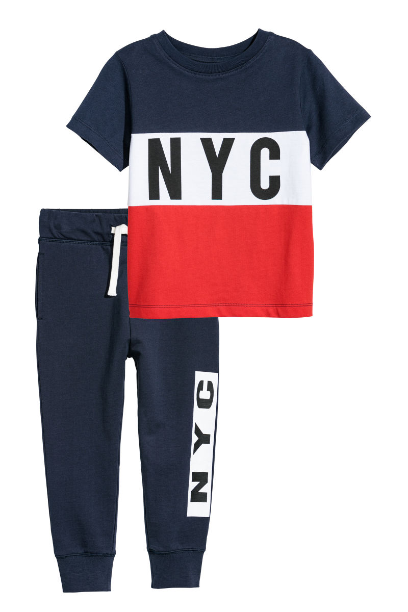 T shirt and Joggers Red NYC KIDS