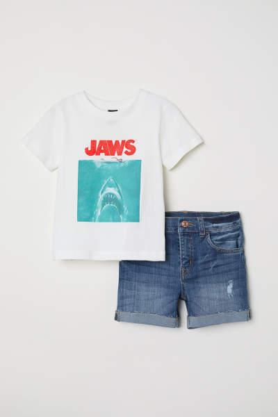 T-shirt and Denim Shorts