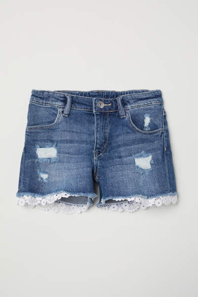 Lace-trimmed Denim Shorts