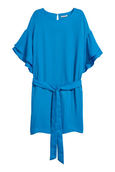 Flounce-sleeved Dress