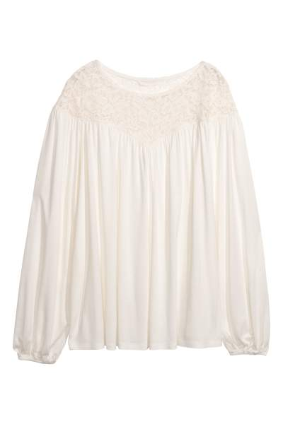 Top with Lace Yoke