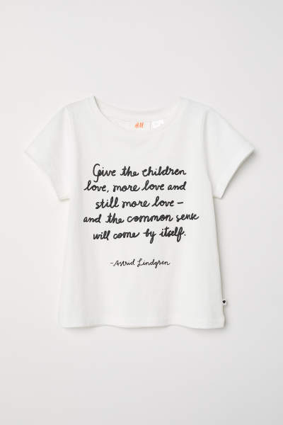 T-shirt with Printed Text