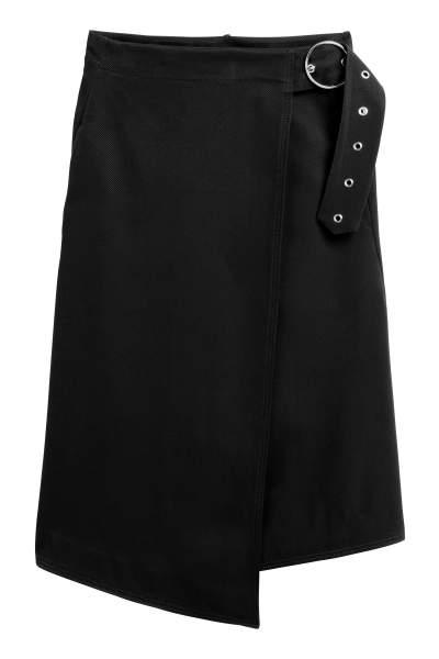Wrapover Twill Skirt
