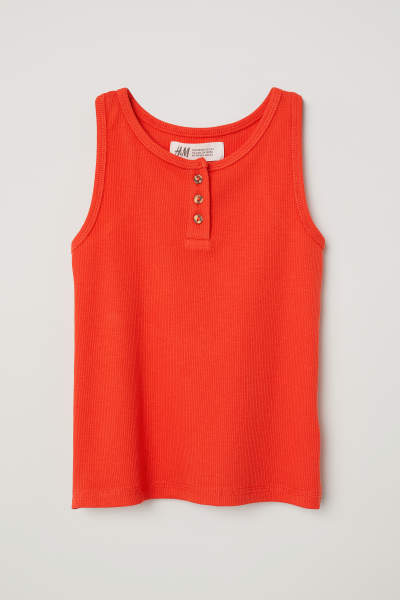 Ribbed Tank Top with Buttons