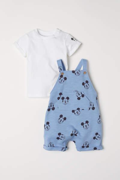 Bib Overall Shorts and T-shirt