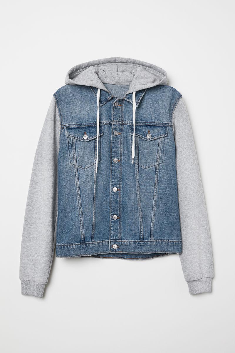 hooded denim jacket denim blue gray men h m us. Black Bedroom Furniture Sets. Home Design Ideas
