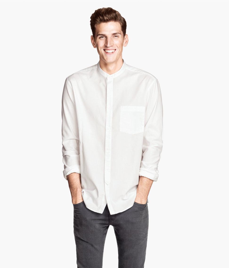 Mens collarless button down shirts artee shirt for Collarless white shirt slim fit