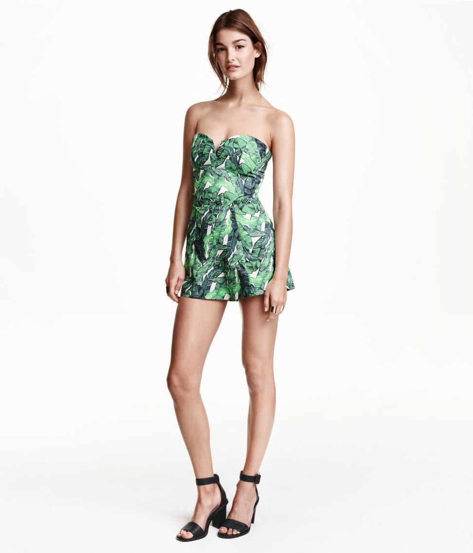 h m conscious strapless palm leaf organic cotton playsuit. Black Bedroom Furniture Sets. Home Design Ideas