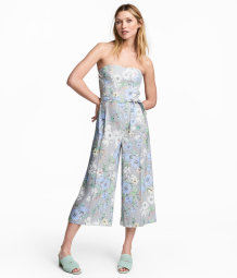 strapless jumpsuit white floral women h m us. Black Bedroom Furniture Sets. Home Design Ideas