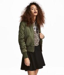 short satin bomber jacket khaki green sale h m us. Black Bedroom Furniture Sets. Home Design Ideas