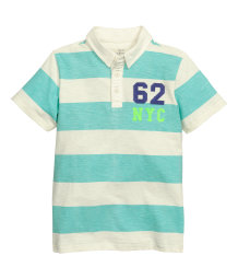 Slub jersey polo shirt mint green striped kids h m us for Mint color polo shirt