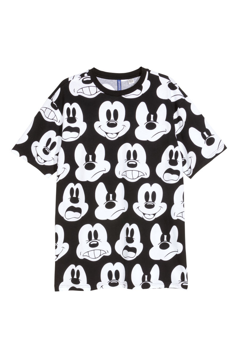 patterned t shirt black mickey mouse sale h m us. Black Bedroom Furniture Sets. Home Design Ideas