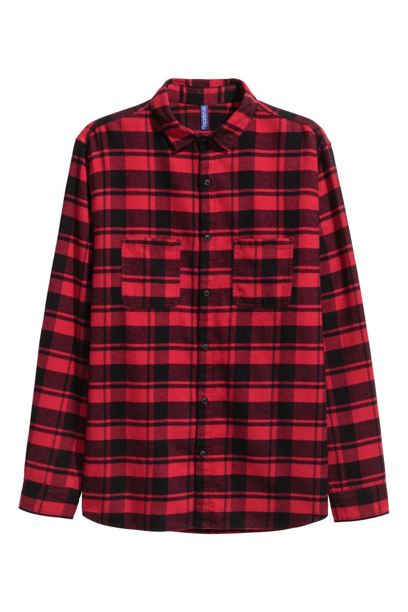 Flannel shirt red black men h m us for Flannel shirt red black