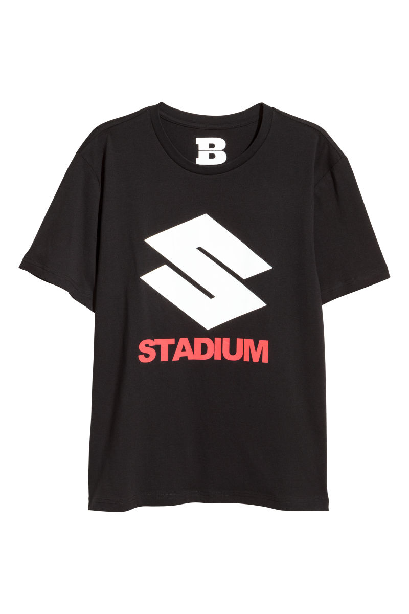 T shirt with printed motif black stadium sale h m us for On site t shirt printing