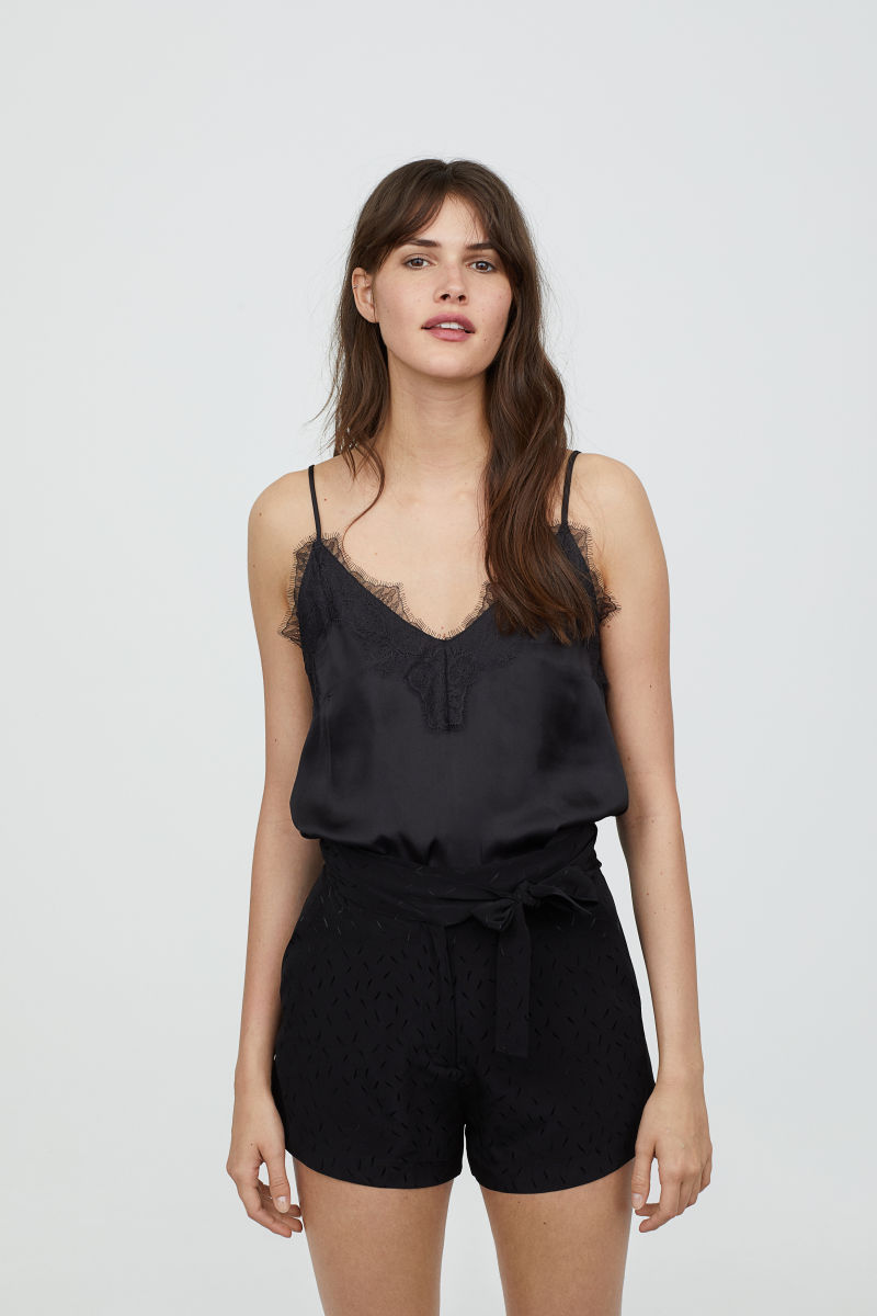 Satin and Lace Camisole Top   Black   WOMEN