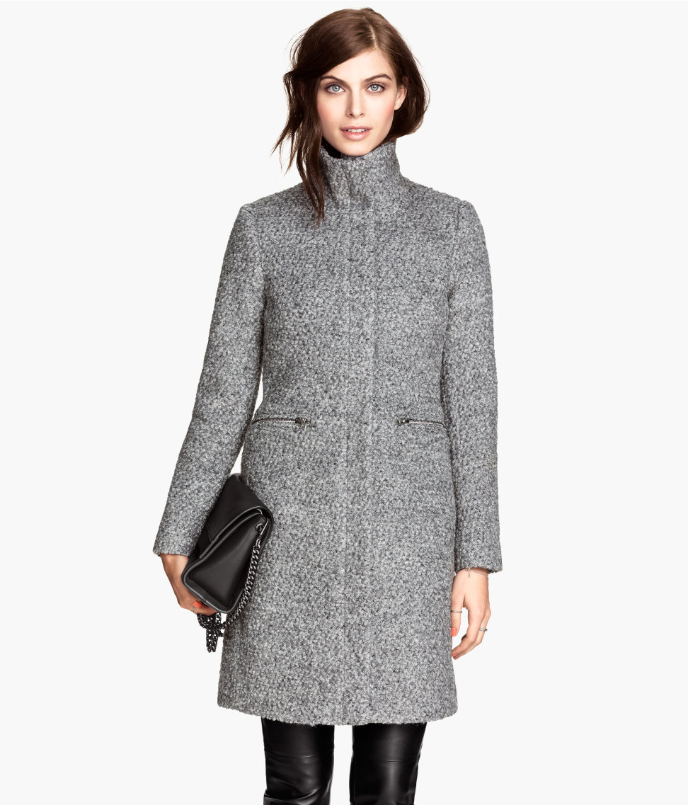 Wool-blend Bouclé Coat | Dark gray melange | Women | H&M US