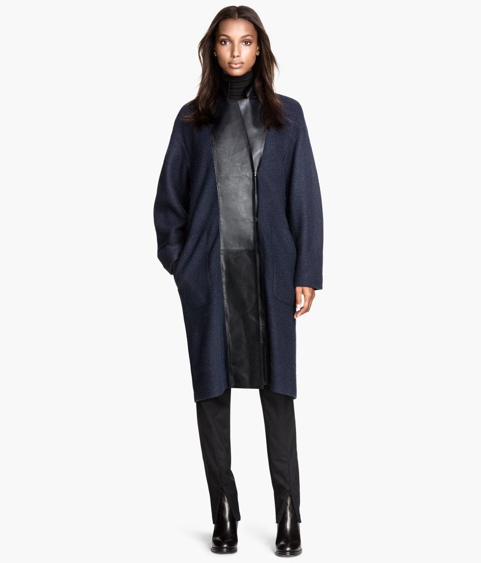 Wool Coat with Leather Lapels   Dark blue   SALE   H&M US