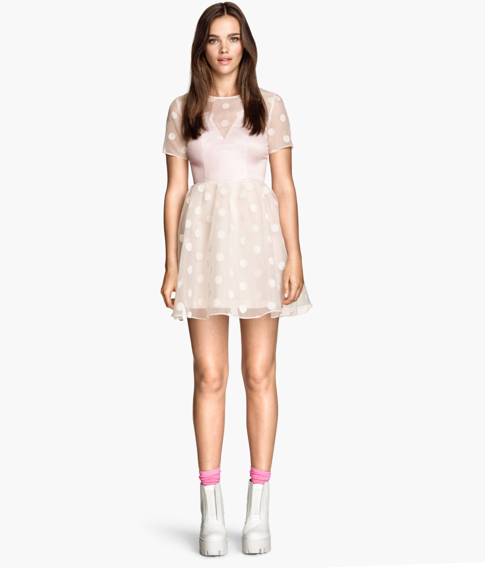 6881ed9831 H&M Patterned Organza Dress- $24.95: This light blush colored, polka dotted  dress is super girly and modest! Wear with black tights and black ankle  boots ...