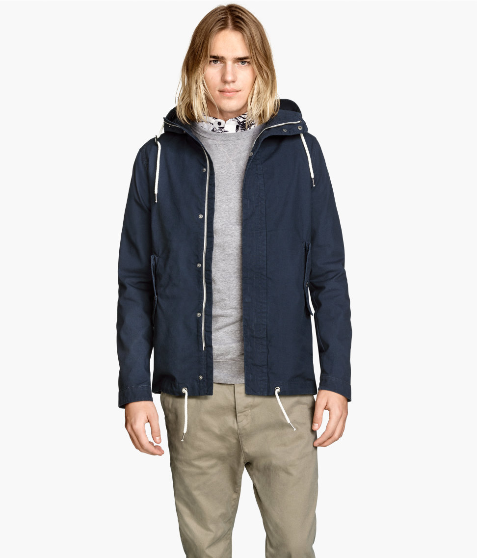 Canvas Parka | Dark blue | Men | H&M US